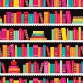 picture of book-shelf  - Seamless book shelf back to school books illustration background pattern in vector - JPG