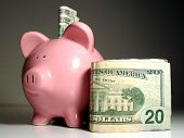 pic of save money  - piggy bank with us currency