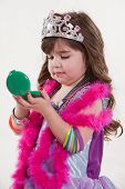 stock photo of toddlers tiaras  - Young cute caucasian toddler girl playing pretend - JPG