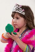 image of toddlers tiaras  - Young cute caucasian toddler girl playing pretend - JPG