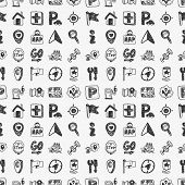 stock photo of gps  - Seamless Doodle Map Gps Location Icons Pattern - JPG
