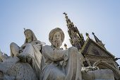 stock photo of kensington  - Low angle shot of African statues of the Albert Memorial in Kensington Gardens - JPG