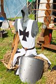 image of reconstruction  - Knight armor on display during tournament reconstruction - JPG