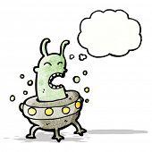 image of flying saucer  - cartoon alien in flying saucer - JPG