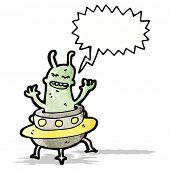 foto of flying saucer  - cartoon alien in flying saucer - JPG