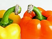 Diamond Rings And Colorful Peppers