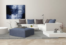 foto of ottoman  - 3D Rendering of Interior of Modern Living Room with Sofa - JPG