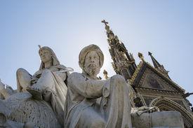picture of kensington  - Low angle shot of African statues of the Albert Memorial in Kensington Gardens - JPG