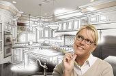 stock photo of combinations  - Creative Woman With Pencil Over Custom Kitchen Design Drawing and Photo Combination on White - JPG