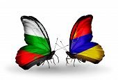 picture of armenia  - Two butterflies with flags on wings as symbol of relations Bulgaria and Armenia - JPG