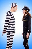 picture of inmate  - Police and prison inmate on white - JPG