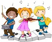 stock photo of music instrument  - Children playing with Musical Instruments with Clipping Path - JPG