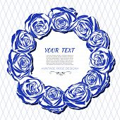 stock photo of blue rose  - Vintage vector card with a round frame of blue roses - JPG