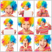pic of clown face  - collage of little cute girl with a sheet of paper in his hands and in color clown wig makes faces on a white background - JPG
