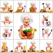 picture of chefs hat  - collage of little cute girl in chef - JPG