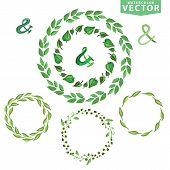 image of laurel  - Set of watercolor wreaths and laurels - JPG