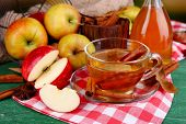 pic of cinnamon  - Composition of  apple cider with cinnamon sticks - JPG