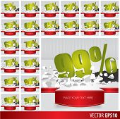 picture of 50s 60s  - Green collection discount 5 10 15 20 25 30 35 40 45 50 55 60 65 70 75 80 85 90 95 99 percent on vector cracked ground on white background - JPG