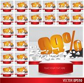 stock photo of 50s 60s  - Gold collection discount 5 10 15 20 25 30 35 40 45 50 55 60 65 70 75 80 85 90 95 99 percent on vector cracked ground on white background - JPG