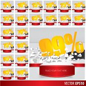 pic of 50s 60s  - Yellow collection discount 5 10 15 20 25 30 35 40 45 50 55 60 65 70 75 80 85 90 95 99 percent on vector cracked ground on white background - JPG