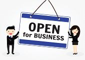 picture of announcement  - The words Open for Business store or business to invite customers inside for a grand opening or for regular business hours - JPG
