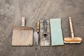 image of concrete  - close up construction tools for concrete job on background of polished concrete surface - JPG