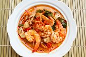 image of thai cuisine  - Tom Yum Goong spicy soup with shrimp  - JPG