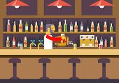 Bar Restaurant Cafe with Barkeeper Character Symbol Alcohol House Interior Icon Background Concept F poster