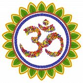 stock photo of ohm  - Isolated om sanskrit symbol in Buddhism made with love from summer flowers - JPG