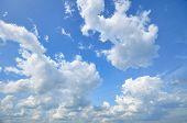 pic of cumulus-clouds  - White cumulus clouds in the blue sky - JPG