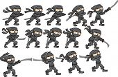 Постер, плакат: Animation of ninja attacking with sword Vector clip art illustration with simple gradients Each on