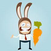 stock photo of bunny costume  - funny businessman in bunny costume - JPG