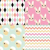 stock photo of chicken  - Seamless easter bunny and chicken geometric chevron and abstract background pattern set in vector - JPG