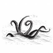 stock photo of kraken  - mythological kraken tentacles with the sea on a white background - JPG
