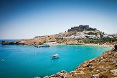 stock photo of greek-island  - Lindos bay - JPG
