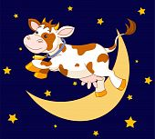 picture of nursery rhyme  - Illustration of cow jumping over the moon - JPG