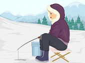 stock photo of ice fishing  - Illustration of a Girl in Thick Winter Clothing Fishing in the Ice - JPG