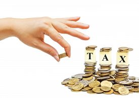 stock photo of piles  - Paying tax  - JPG