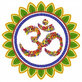 foto of sanskrit  - Isolated om sanskrit symbol in Buddhism made with love from summer flowers - JPG