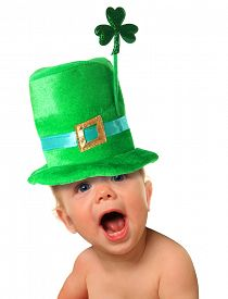 picture of shamrocks  - Funny St Patricks day baby wearing a green hat with a shamrock - JPG