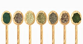 image of irish moss  - a collection of seaweed and algae dietary supplements on wooden spoons  - JPG