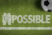 stock photo of impossible  - Soccer field with the text - JPG
