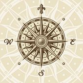 image of compass rose  - Vintage compass rose in woodcut style - JPG
