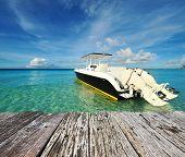 picture of boracay  - Beautiful beach with motor boat at Boracay island - JPG