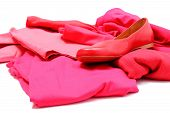 picture of pink shoes  - Heap of red and pink shirts and pants with womanly shoes womanly clothes - JPG