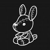 stock photo of rabbit year  - Rabbit Doll Doodle - JPG