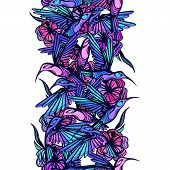 stock photo of colibri  - Flying tropical hummingbirds with flowers seamless pattern - JPG