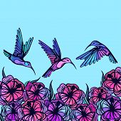stock photo of hummingbirds  - Flying tropical stylized hummingbirds with flowers background - JPG