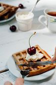 pic of whip-hand  - Breakfast with wholegrain brussels waffles and whipped cream - JPG
