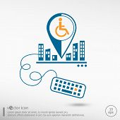 foto of handicapped  - Disabled Handicap icon and keyboard - JPG